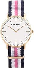 Comprar Alienwork Classic St.Mawes Reloj cuarzo elegante cuarzo moda diseño atemporal clásico Nylon oro rosa azul U04818L-02