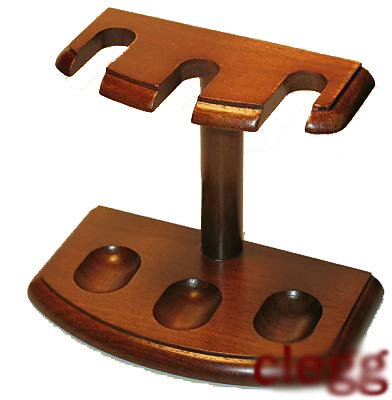 Solid Walnut Pipe Tobacco Pipe Rack - Holds 3 Pipes