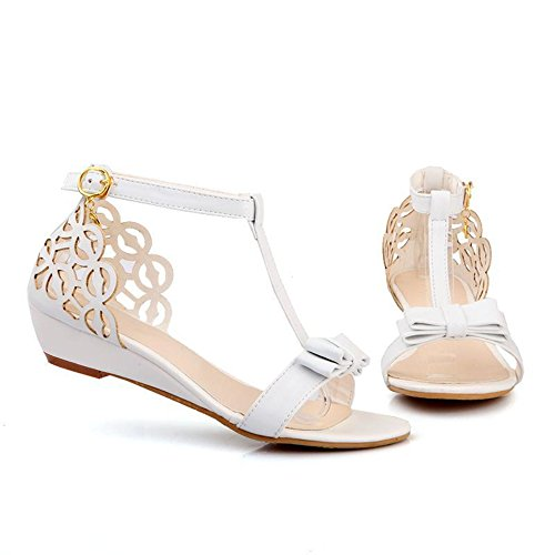 Rhinestone Fretwork Buckle Strap Hollow Out Bowknot Women Wedge Sandals Elegant Summer Shoes