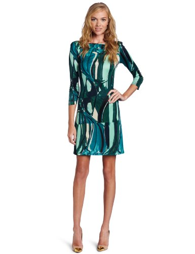 Catherine Malandrino Women's 3/4 Sleeve Print Shift Dress