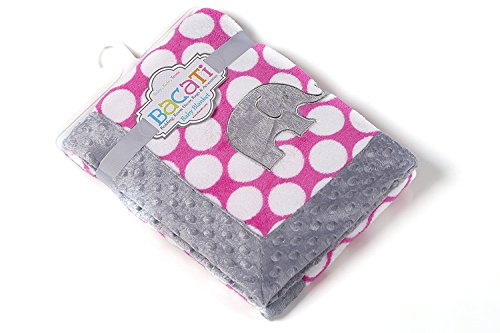 Bacati - Elephants Pink/grey Blanket1