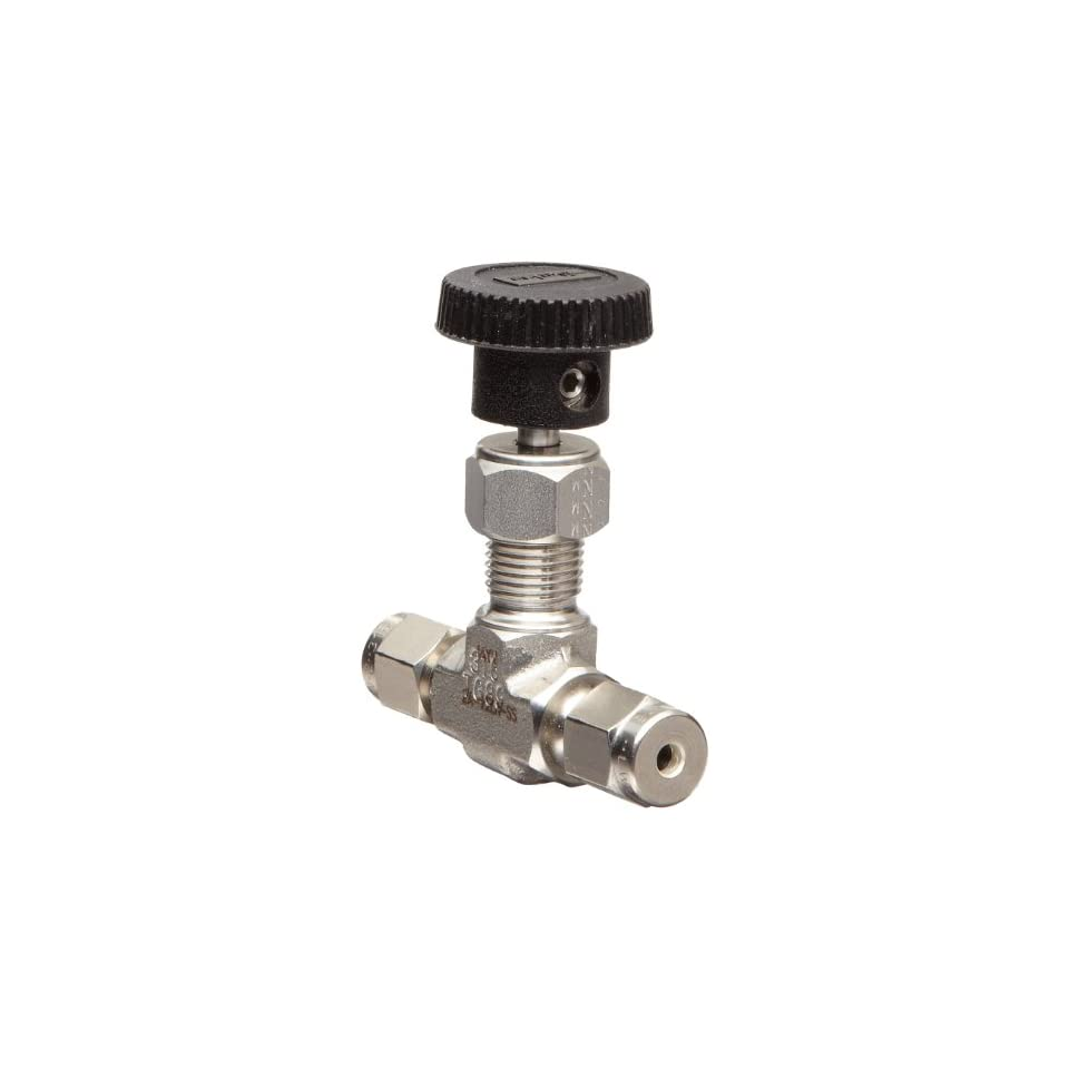 Parker V Series Stainless Steel 316 Needle Valve, Inline, Hand Wheel, Needle Stem, 1/8 A Lok Compression Fitting