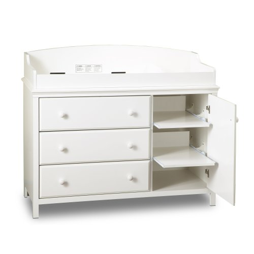 South Shore Furniture, Cotton Candy Collection, Changing Table with 2 Pull-Out Shelves, Pure White