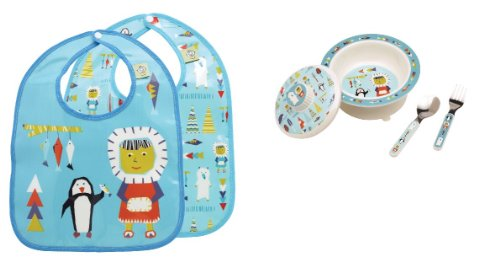 Sugarbooger Covered Bowl, Silverware, and 2 Bibs Set-Arctic Polar Pals