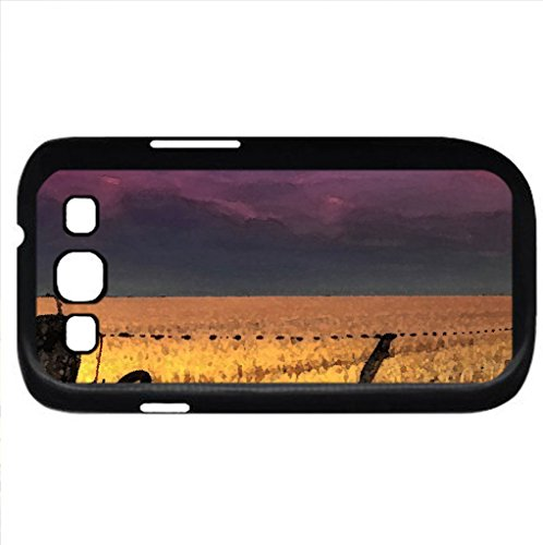 Moon Over A Fenced Yellow Field (Fields Series) Watercolor Style - Case Cover For Samsung Galaxy S3 I9300 (Black)