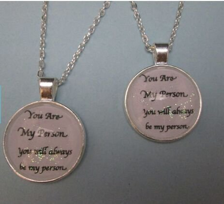 Set of 2 You Are My Person You will always be my person white sparkles necklace, best friends family couples