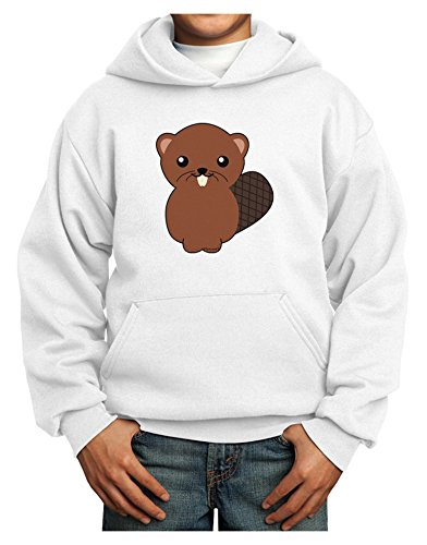 TooLoud Cute Beaver Youth Hoodie White Medium