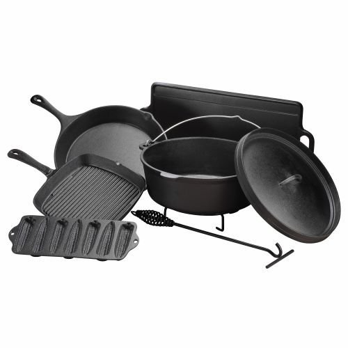 Outdoor Gourmet 7 Piece Cast Iron Cookware Set Skillet Pre-seasoned Campfire Grill Pan