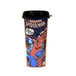 Silver Buffalo MC2087 Marvel Spiderman Swings BPA-Free Plastic Travel Mug, 16 oz., Blue