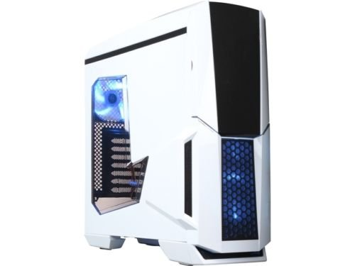 DIYPC Gamemax-W White Dual USB 3.0 ATX Full Tower Gaming Computer Case with Build-in 5 x Blue Fans (2 x 120mm LED Fan x Top, 2 x 120mm LED Fan x Front, 1 x 120mm LED Fan x Rear), Water Cooling Ready (Build Desktop Computer compare prices)