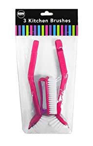 """Brights"" Pack of 3 Kitchen Brushes for Washing Up & Cleaning Handy for Kitchen"