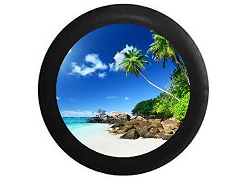 Full Color Carribean Reaching Palm Trees White Sand Tropical Beach Vacation Spare Tire Cover Black 32 in (Jeep Wrangler Safari Tire Cover compare prices)