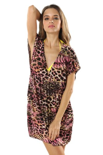 Toptie V Neck Beach Dresses Animal Printed / Colorful Printed