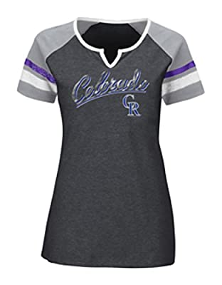 MLB Colorado Rockies Women's The Replay Fashion Top, Small, Charcoal Heather/Stone Gray/White