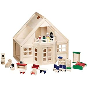 Melissa & Doug Deluxe Wooden Furnished Dollhouse