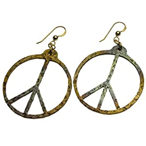 Hand Hammered Delicate Peace Symbol Iridescent Earrings on French Hooks
