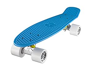 Ridge Original Retro Cruiser Skateboard complet Bleu/Blanc 55 cm x 15 cm