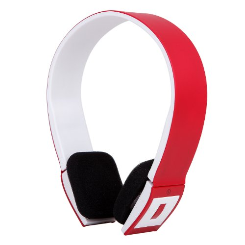 Hde Slim Wireless Bluetooth V3.0 Stereo Headphones W/ Compatible Usb 2.0 Bluetooth Dongle Adapter (Red)