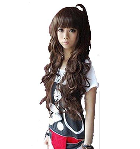 XNWP-Temperamento moda Lady fluffy grandi onde, Real capelli lunghi parrucca