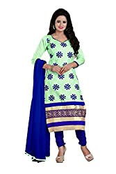 Parinaaz Fashion C-Green Chandari Straight unstitched salwar suit
