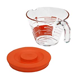 Pyrex 4-Cup Measuring Cup with Red Plastic Cover, Read from Above Graphics