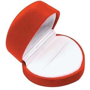 Red Heart Shaped Velvet Ring Jewelry Gift Box