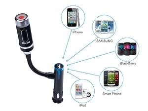 Transmetteur FM Bluetooth sans fil kit mains libres voiture TaoTronics avec chargeur adapteur allume-cigare pour iPhone 6/6Plus , 5S , 5 , 5C , 4S , 4 , 3GS , iPod Touch , iPad / Samsung Galaxy S6 S5 , S4 , S3 , S3mini , Note 4 , Note 3 , Note 2 / HTC: ONE M7 , M8 , DROID DN , One X+ , X , Desire , 8X , 8S / Microsoft: Surface RT , Pro / MoAtorola / LG / Nokia Lumia / Blackberry / Sony / ASUS Google Nexus 7 et Tous les Périphériques Bluetooth