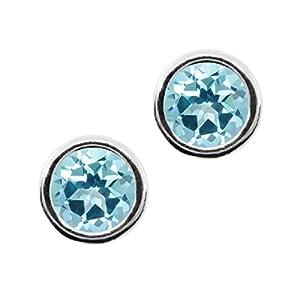 Carlo Bianca Ice Blue 14K White Gold Earrings Made With Swarovski Topaz
