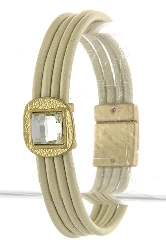 Trendy Fashion Jewelry Faceted Jewel Accent Leather Bracelet By Fashion Destination | (Cream)