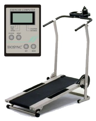 Biosync Foldable Manual Treadmill w/ 3 position incline, Exercise Computer & Water Bottle