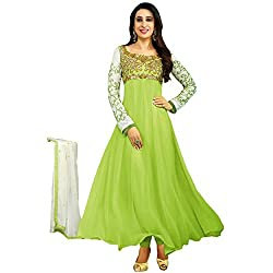 RajLaxmi Women's Fashion Light Green Georgette Dress Material
