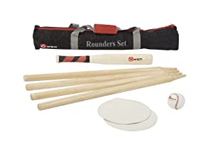 Rounders Set - This standard Rounders Set comes with a wood rounders bat with a rubber grip, a leather rounders ball, 4 wooden posts, and 2 rubber disc mats. This set comes in a nylon transport bag. Everything required to play this classic English game!