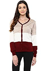 Annabelle by Pantaloons Women's V-Neck Cardigan (205000005619436, Red, Small)