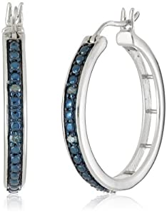 Sterling Silver Blue Diamond Hoop Earrings (0.10 cttw, H-I Color, I1-I2 Clarity) from Max Color, LLC