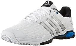 adidas Men\'s Barricade Club Tennis Shoes, White/Metallic Silver/Black, 8 M US