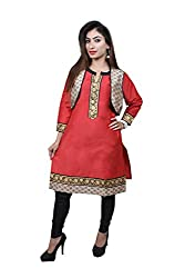 Abiera Women's Poly Silk Straight Kurti (Ab10XX-Large_Red_XX-Large)