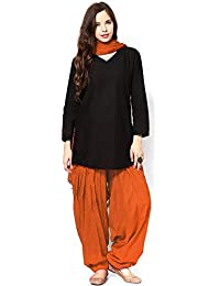 JDS Fashion Women's Cotton Silk Salwar Suit (JDS_BOCD._Orange_Free Size)