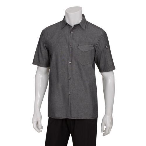 Chef Works SKS002-BLK-XL Detroit Short-Sleeve Denim Shirt, Black (Chefs Work Shirt compare prices)