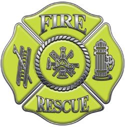 Fire Rescue Maltese Cross Decal - Yellow - 4
