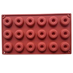 FLYMOR 18-Cavity Donuts Shape Silicone Mold for Making Homemade Chocolate,Candy,Gummy,Jelly