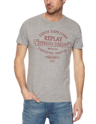 Replay M6027 Printed Men's T-Shirt Grey Melange Large