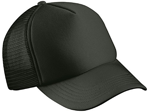 CLASSIC TRUCKER CAP HALF MESH HAT - 22 GREAT COLOURS (MB070) (BLACK)