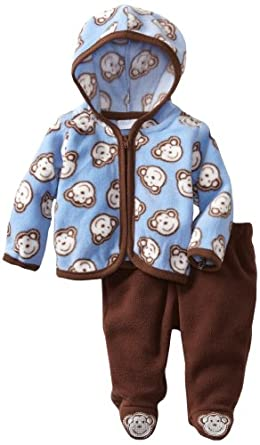 Vitamins Baby-boys Newborn 2 Piece Monkey Hooded Pant Set, Brown, 6 Months