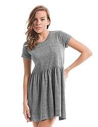 Prym Women's Cotton Pleated Dress (1011531502_Grey Marl_X-Large)