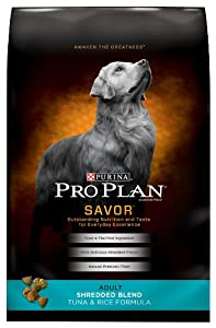 Purina Pro Plan Dry Dog Food, Savor, Shredded Blend Adult Tuna and Rice Formula, 33-Pound Bag, Pack of 1