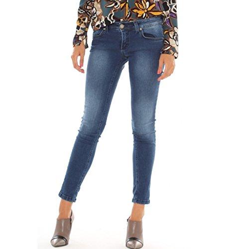 Jeans skinny in denim cotone stretch con schiariture