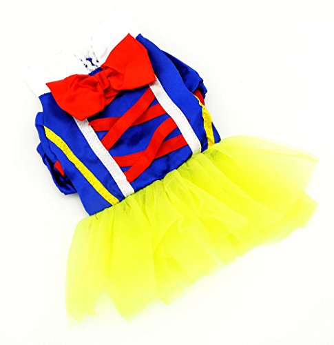 PEGASUS Snow White Dress for Small Dogs Girl Blue Cartoon Birthday Pet Clothes Princess Costume Skirts (Snow White Dog Costume)