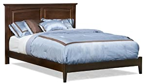 Queen Size Platform Bed with Open Footrail Antique Walnut Finish