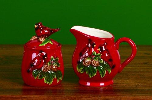 Cardinals And Pinecones Cream & Sugar Set - Dolomite Christmas Coffee & Tea Accessories