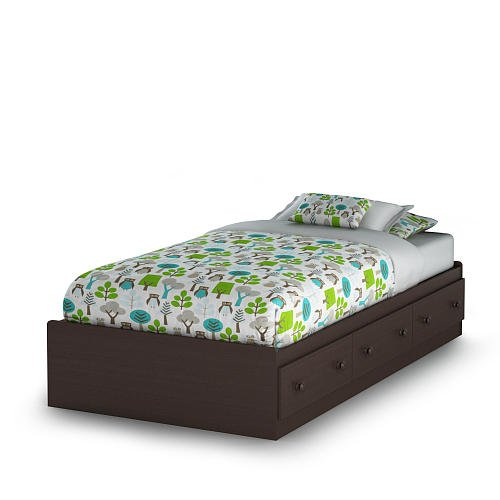 South Shore Summer Breeze Collection Twin Mates Bed Chocolate front-1009562